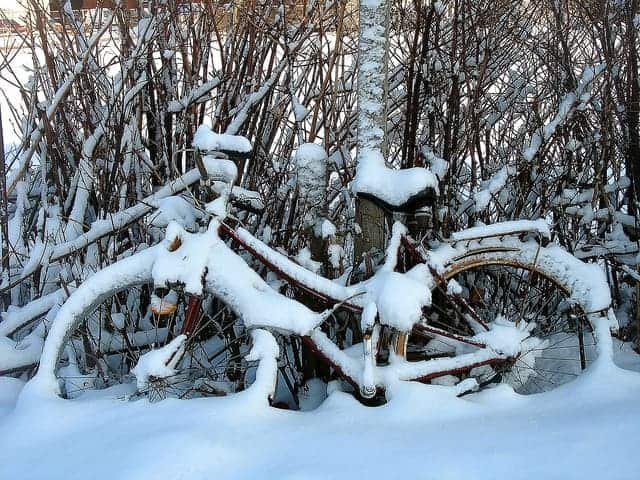 A bike sitting against a tree covered in snow.