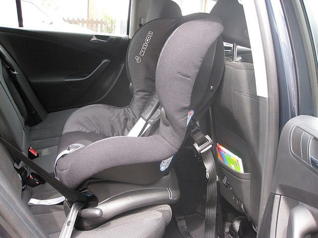 Baby car seat in a car.