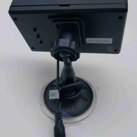The suction cup mount attaches easily to the QuickVu Digital wireless backup camera monitor.